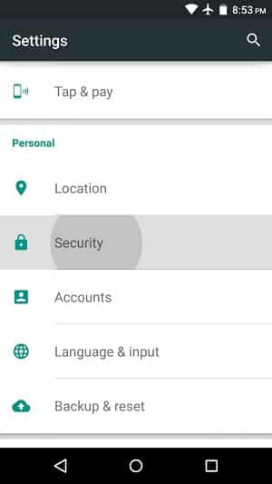 Open Settings and Tap Security